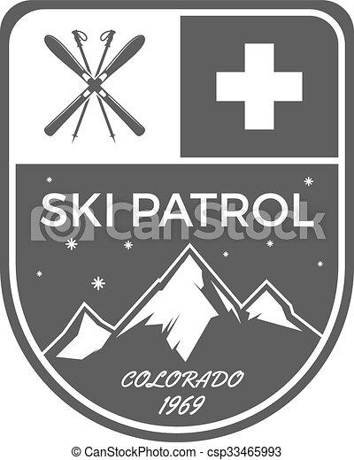 buiten, patrouille, wildernis, kleur, monochroom, logo, design., berg, winter, ouderwetse , reizen, sporten, hipster, getrokken, ski, badge., ontdekkingsreiziger, symbool., hand, avontuur, label., pictogram, emblem., vector, hulp, eerst - csp33465993