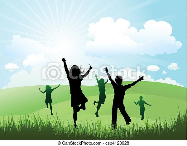 buiten, zonnig, spelend, dag, kinderen - csp4120928