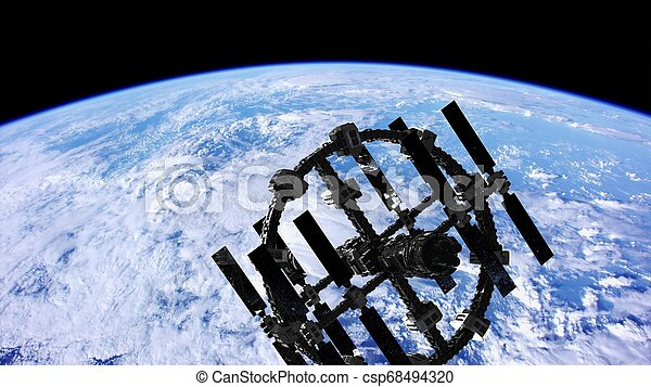 buitenste ruimte, op, planeet, station, internationaal, aarde - csp68494320