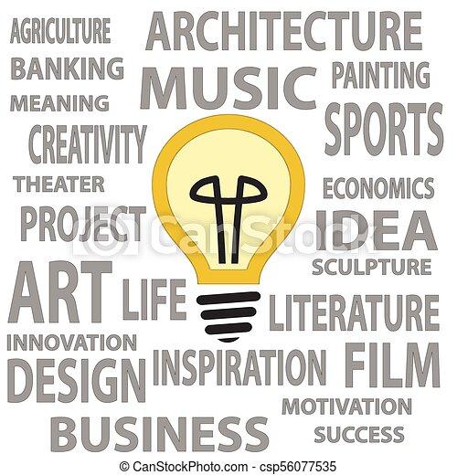 Bulb As A Great Idea Illustration Of Light Bulbs With Text As A