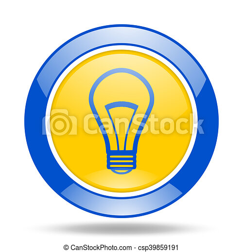 bulb blue and yellow web glossy round icon - csp39859191