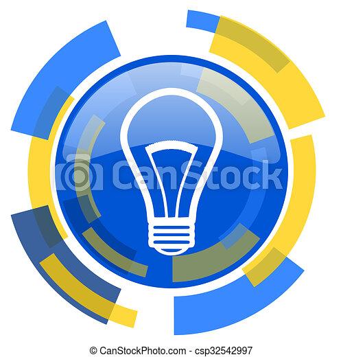 bulb blue yellow glossy web icon - csp32542997