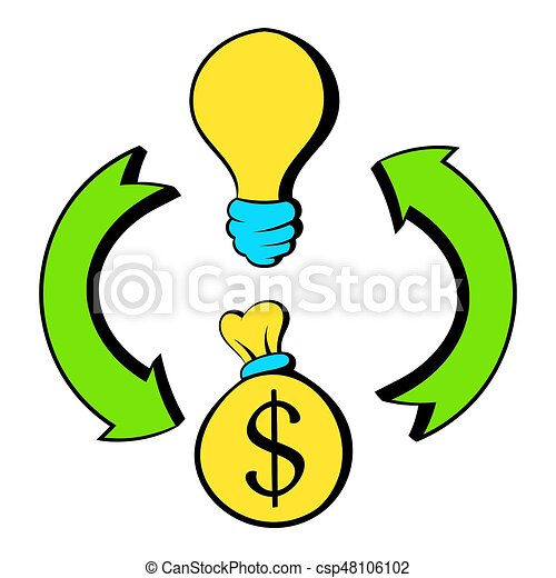 Bulb, dollar sign and green arrows icon cartoon