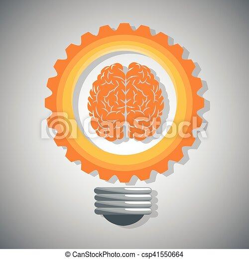 Bulb gear brain and big idea design - csp41550664