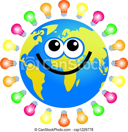 Bulb Globe Cartoon World Globe Surrounded By Light Bulbs