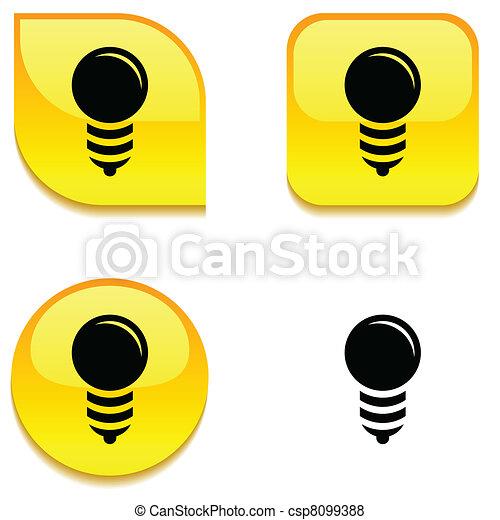 Bulb glossy button. - csp8099388