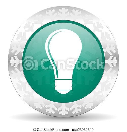 bulb green icon, christmas button, idea sign - csp23982849