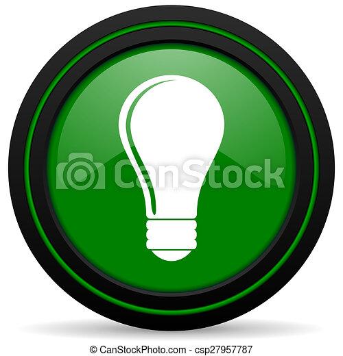 bulb green icon idea sign - csp27957787