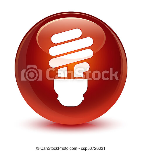Bulb icon glassy brown round button - csp50726031