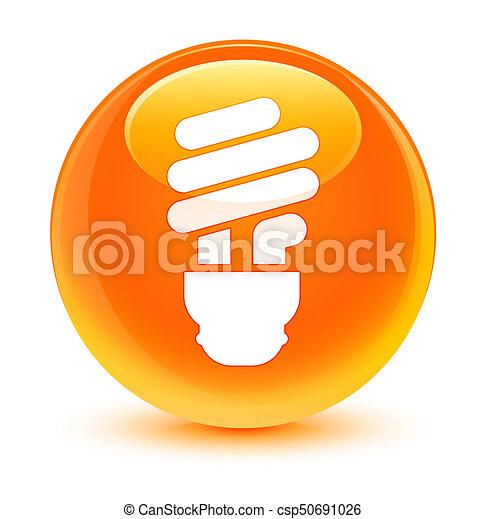 Bulb icon glassy orange round button - csp50691026