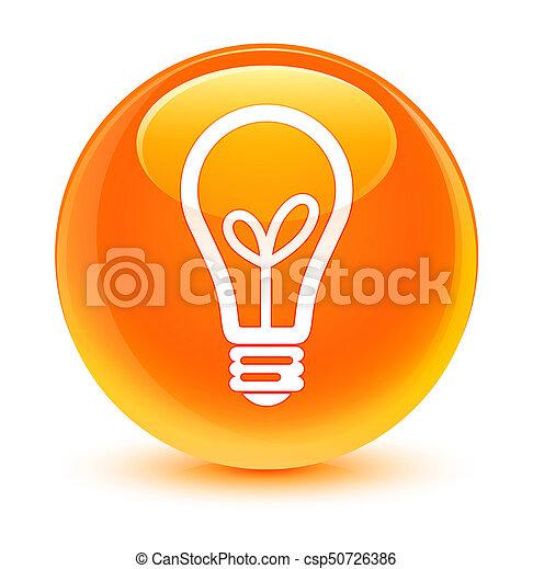 Bulb icon glassy orange round button - csp50726386