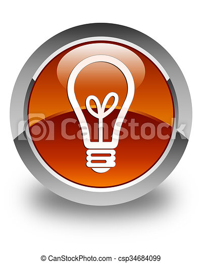 Bulb icon glossy brown round button - csp34684099