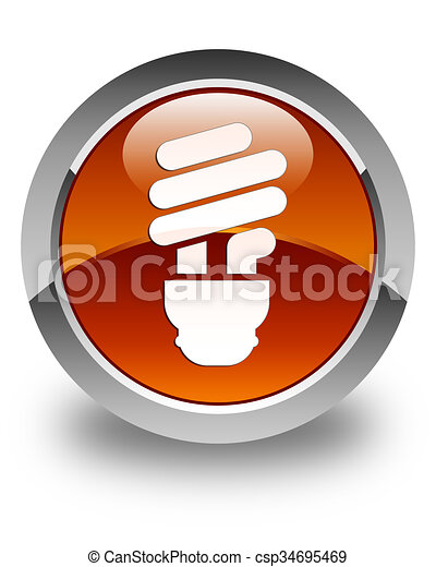 Bulb icon glossy brown round button - csp34695469