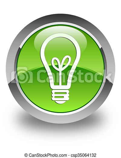 Bulb icon glossy green round button - csp35064132