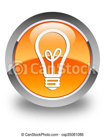Bulb icon glossy orange round button - csp35081086