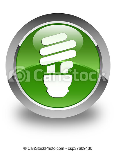 Bulb icon glossy soft green round button - csp37689430