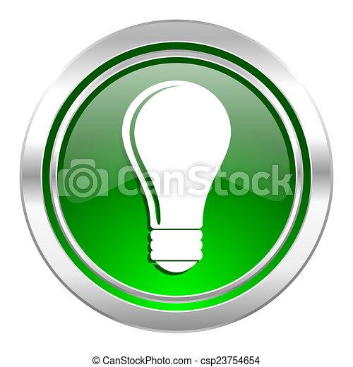 bulb icon, green button, idea sign - csp23754654