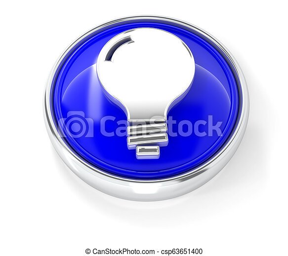 Bulb icon on glossy blue round button - csp63651400
