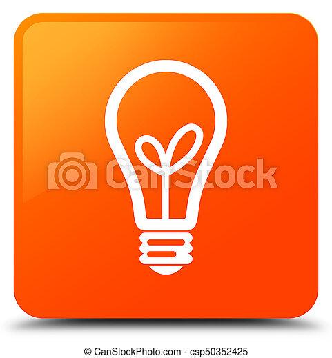 Bulb icon orange square button - csp50352425