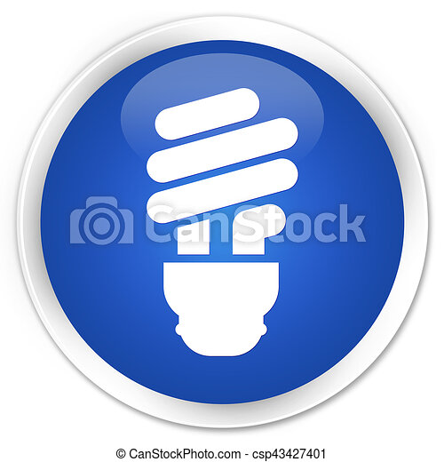Bulb icon premium blue round button - csp43427401