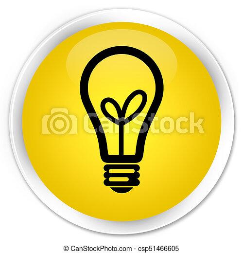 Bulb icon premium yellow round button - csp51466605