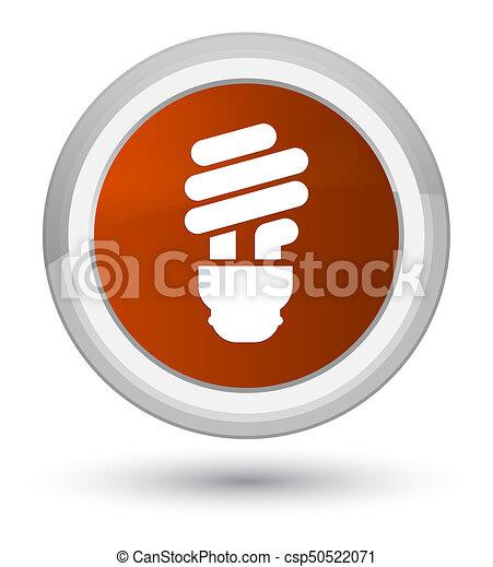Bulb icon prime brown round button - csp50522071