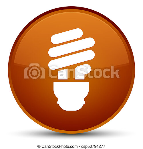 Bulb icon special brown round button - csp50794277