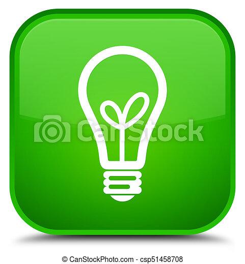 Bulb icon special green square button - csp51458708