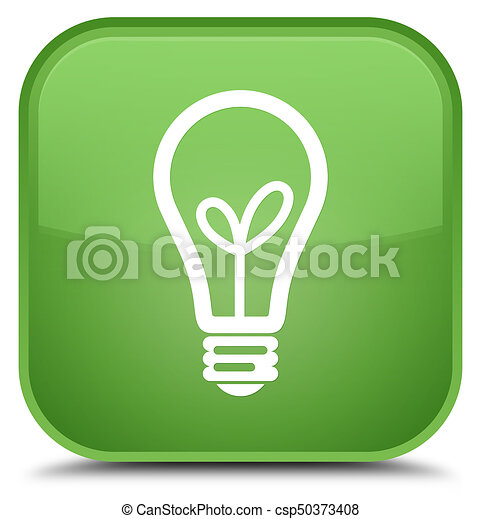 Bulb icon special soft green square button - csp50373408