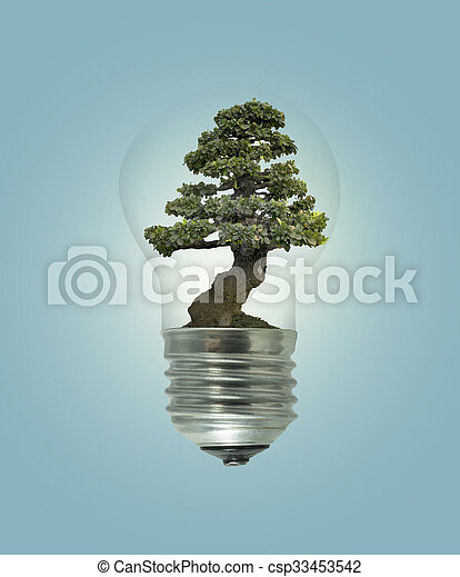 Bulb light with green tree inside - csp33453542
