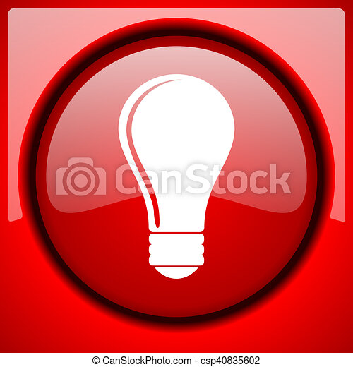 bulb red icon plastic glossy button - csp40835602
