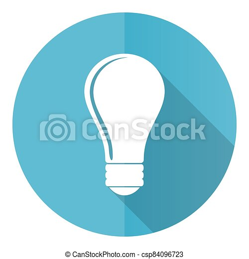 Bulb vector icon, flat design blue round web button isolated on white background - csp84096723