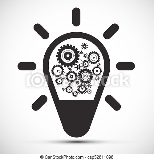 Bulb with Cogs - Gears. Vector Icon. - csp52811098