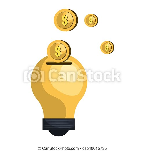 bulb with money coin - csp40615735