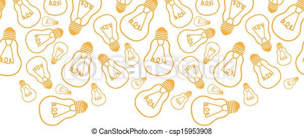 bulbos, arte, padrão, seamless, fundo, luz, linha, borda, horizontais - csp15953908