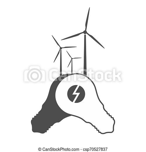 bulbos, gerador, luz, vetorial, moinho, vento - csp70527837
