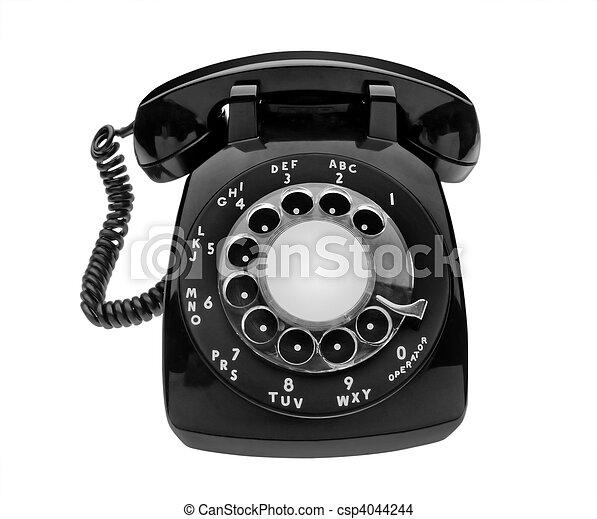 Bulbous black dial phone, isolated - csp4044244