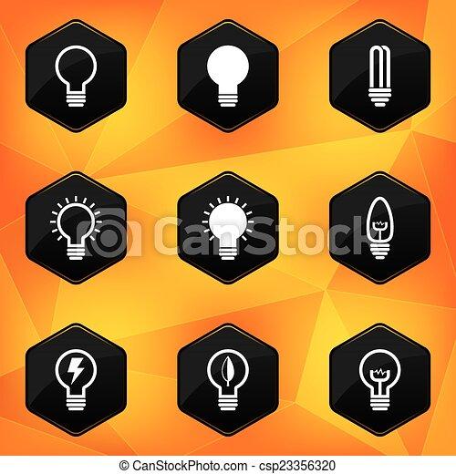 Bulbs. Hexagonal icons set on abstract orange background - csp23356320