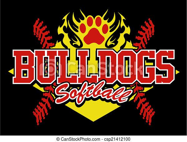 buldogue, desenho, softball - csp21412100