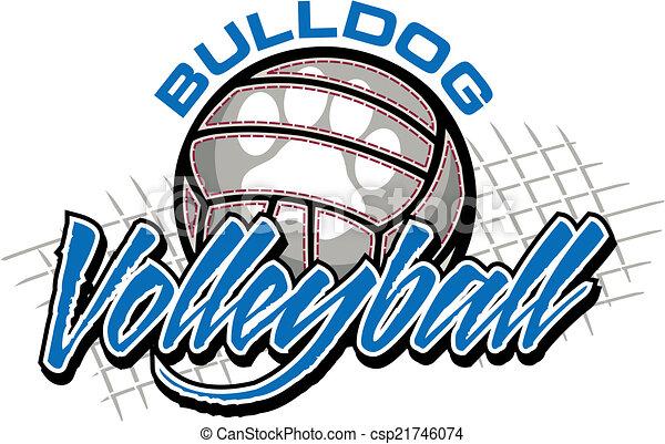 buldogue, desenho, voleibol - csp21746074