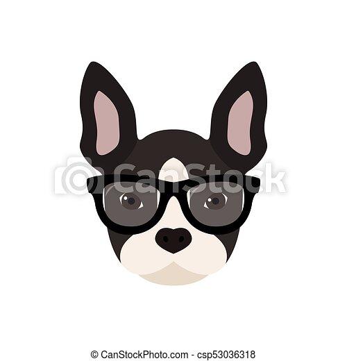 buldogue francês glasses cute illustration buldogue glasses