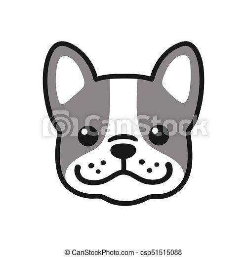 buldogue francês rosto cute pequeno illustration buldogue