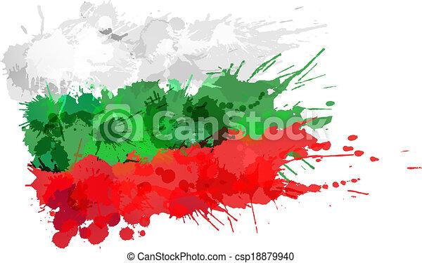 bulgare, fait, drapeau, coloré, eclabousse - csp18879940