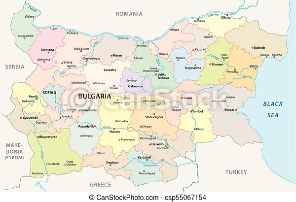 bulgaria administrative and political vector map - csp55067154