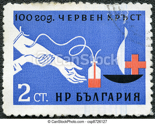 BULGARIA - CIRCA 1963: A stamp printed in Bulgaria devoted to 100 anniversary of the Red Cross, shows blood transfusion, circa 1963 - csp8726127