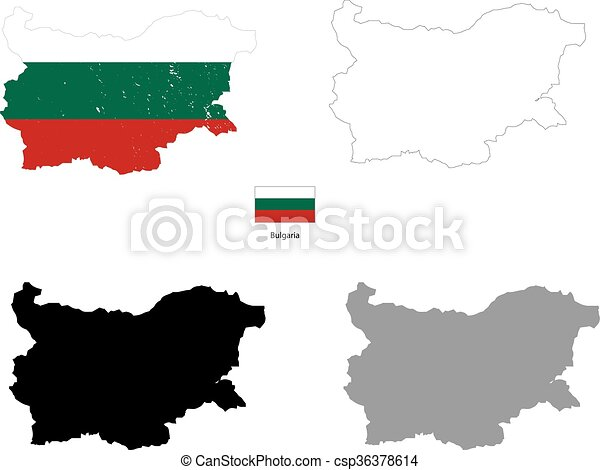 Bulgaria country black silhouette and with flag on background - csp36378614