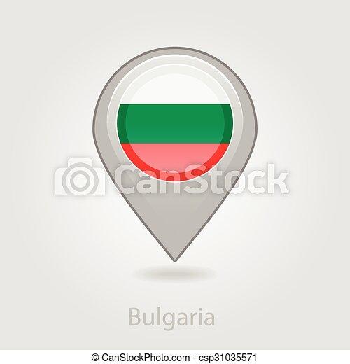 Bulgaria flag pin map icon, vector illustration - csp31035571
