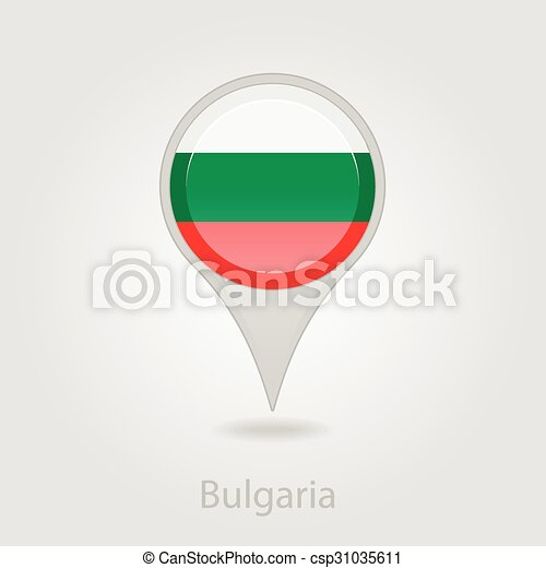 Bulgaria flag pin map icon, vector illustration - csp31035611