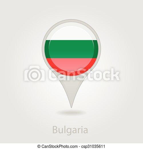 Bulgaria flag pin map icon, vector illustration - csp31035611