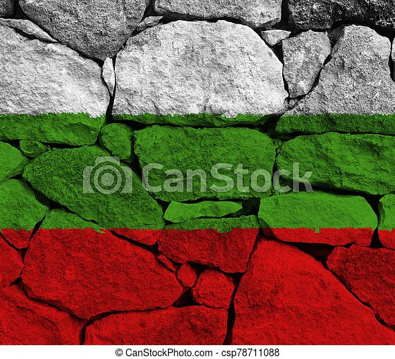 bulgaria flag with texture on background - csp78711088